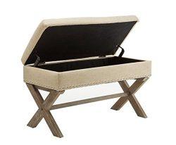 Chairus Kipling Beige Fabric Storage Bench with Nailhead Trim