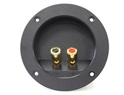 Absolute USA RST-450 4-Inch Round Gold Push Spring Loaded Jacks Double Binding Post Speaker Box  ...