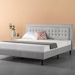 Zinus Upholstered Button Tufted Premium Platform Bed / Strong Wood Slat Support / Grey Sand, King