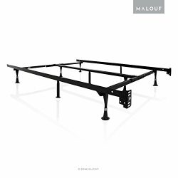 STRUCTURES by Malouf Heavy Duty 9-Leg Adjustable Metal Bed Frame with Double Center Support and  ...
