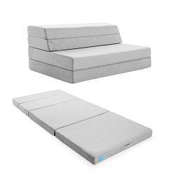 LUCID 4 Inch Folding Mattress and Sofa with Removable Indoor / Outdoor Fabric Cover – King ...
