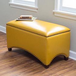 Premium Nailhead Storage Bench – Modern Leather Window Seating Organizer Home Furniture Li ...