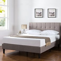 Zinus Upholstered Vertical Detailed Platform Bed, Full