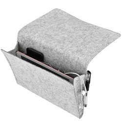 Basenor Bedside Caddy Felt Bedside Storage Organizer with Extra Pocket, Light Gray