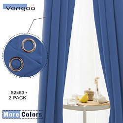 Vangao Light Blocking Royal Blue Blackout Curtains Boy Room Darkening Thermal Insulated Decorati ...