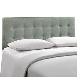 Modway Emily Upholstered Tufted Button Fabric Full Size Headboard In Gray