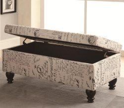 Vintage styled french script print fabric upholstered bedroom storage bench with turned legs