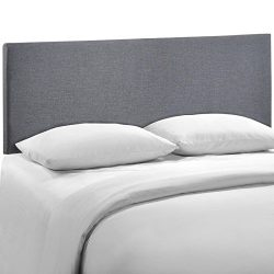 Modway Region Upholstered Linen Headboard Queen Size In Smoke