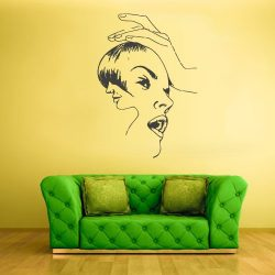 Wall Vinyl Decal Sticker Bedroom Decal Hair Style Salon Dresser Woman Face z2344