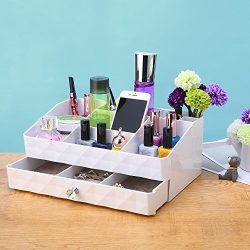 ZM-YOUTOO Jewelry Makeup Brush Storage Case Vanity Organizer Tray Box with Drawer Holder for Bat ...