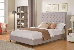 Home Life Cloth Light Grey Silver Linen 51″ Tall Headboard Platform Bed with Slats King &# ...