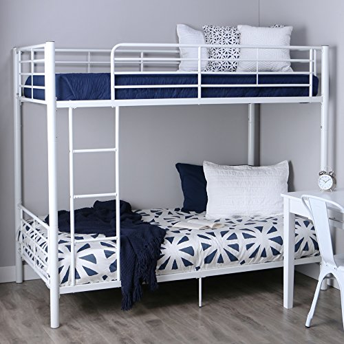 Walker Edison Twin Over Metal Bunk Bed White