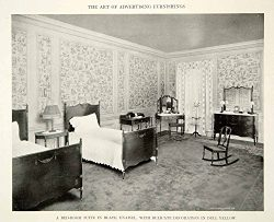 1915 Print Antique Bedroom Furniture Suite Twin Beds Dresser Interior Design GF5 – Origina ...