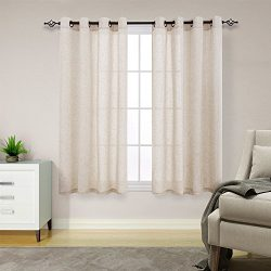Linen Textured Curtains for Living Room 63 inches Long Window Curtains Privacy Flax Linen Look W ...