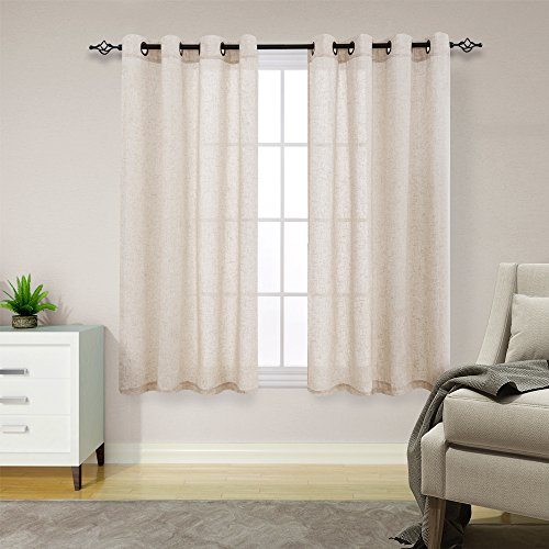 Linen Textured Curtains For Living Room 63 Inches Long