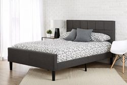 Zinus Upholstered Square Stitched Platform Bed with Footboard, Full