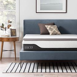Lucid 2 Inch Bamboo Charcoal Memory Foam Mattress Topper – Queen