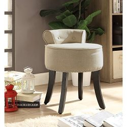 Taylor Beige Linen Vanity Stool – Nailhead Trim | Roll Back | Button Tufted |Bedroom| Insp ...