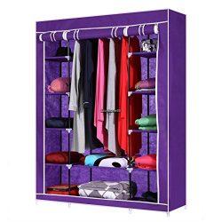 Wardrobe Armoire Closet Fabric Storage Clothes Bedroom Organizer Rack Shelves #Purple