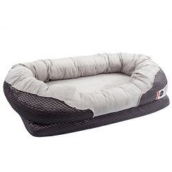 BarksBar Large Gray Orthopedic Dog Bed – 40 x 30 inches – Snuggly Sleeper with Nonsl ...