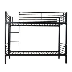 Bonnlo Twin over Twin Metal Bunk Bed with Ladder,Black