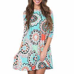 Women Dress,IEason Hot Sale! Womens Summer Vintage Boho Maxi Evening Party Beach Floral Dress (2 ...