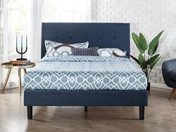 Zinus Upholstered Navy Button Detailed Platform Bed / Wood Slat Support, Twin
