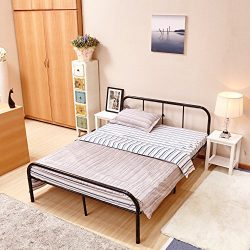 GreenForest Full Size Bed Frame with Headboard and Stable Metal Slats Boxspring Replacement Doub ...