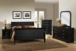 Roundhill Furniture Isony 594 Louis Philippe Style Wood Bedroom Furniture Set, King Bed, Dresser ...