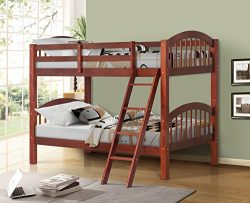Harper&Bright Designs Twin-Over-Twin Solid Hardwood Bunk Bed (Walnut)