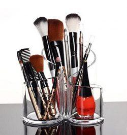 PuTwo Acrylic Makeup Brush Holder Desk Organizer Cosmetics Organizer Lipstick Organizer, Round,  ...