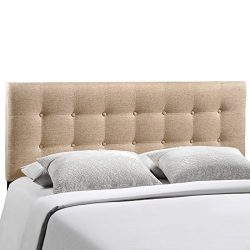 Modway Emily Upholstered Tufted Button Fabric Full Size Headboard In Beige