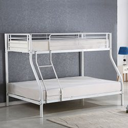 Costzon Twin Over Full Metal Bed, Metal Bunk Bed Frame with Ladders, White
