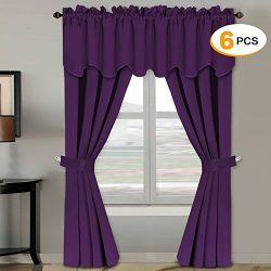 H.Versailtex Blackout Curtains Sets (6 pcs), Thermal Insulated Antique Grommet Window Treatment  ...