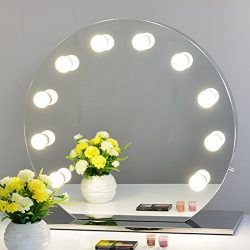 Chende Frameless Hollywood Makeup Vanity Mirror with Light Tabletops Lighted Mirror with Dimmer  ...