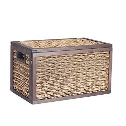 Household Essentials ML-5690 Large Seagrass Poplar Wicker Storage Box with Lid – 11.4&#824 ...