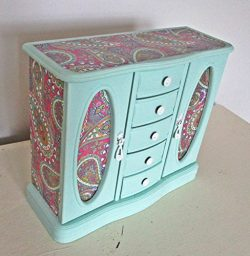 Jewelry Box, Upcycled, Vintage, Jewelry Armoire, Jewelry Chest, Shabby Chic, Mint Green, Wood, H ...