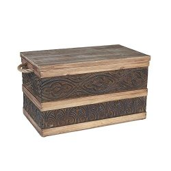 Household Essentials Decorative Metal Banded Wooden Storage Trunk with Handles, Small