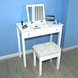 Cloud Mountain Vanity Table Set Makeup Jewelry Flip-top Mirrored Dressing Table Stool Set, White