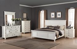 Roundhill Furniture Regitina 016 Bedroom Furniture Set, King Bed, Dresser, Mirror, Nightstand an ...