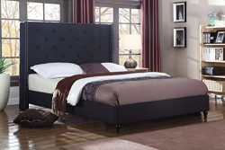 Home Life Premiere Classics Cloth Black Linen 51″ Tall Headboard Platform Bed with Slats K ...