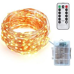 Tecland 16.4ft/5M 50LED Battery Operated Remote Control Waterproof IP65 8 Modes Copper Wire Stri ...