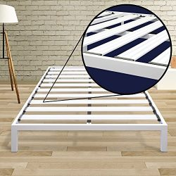 Best Price Mattress Model C Heavy Duty Steel Slat Platform Bed White, Twin XL / Sturdy, Durable  ...