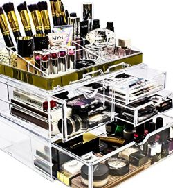 Sorbus Acrylic Cosmetic Makeup and Jewelry Storage Case Display with Gold Trim – Spacious  ...