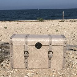 The Tribeca Steamer Trunk, Treasure Chest, Storage Box, Beige, Woven Faux Leather, Stitched Stud ...