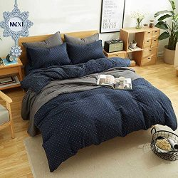 MKXI Simple Bedroom Collection 3 Pieces Navy Queen Size Duvet Cover Set,Cross Printed