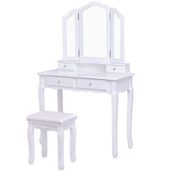 Giantex Tri Folding Mirror Bathroom Vanity Makeup Table Stool Set Home Furni With 4 Drawers (White)