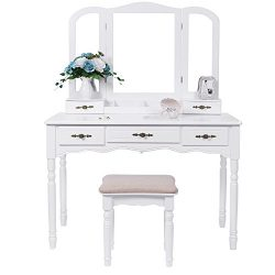 BEWISHOME Vanity Set with Large Tri-folding Mirror & Cushioned Stool Vanity Desk Makeup Tabl ...