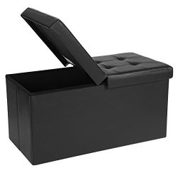 SONGMICS Folding Storage Ottoman Bench with Flipping Lid, Storage Chest Footstool, Faux Leather, ...