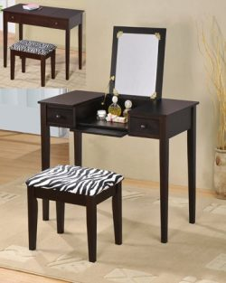 2 pc espresso finish wood bedroom make up vanity dressing table with flip up mirror and stool wi ...